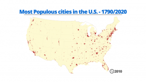 Most Populous cities in the U.S. - 1790/2020