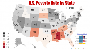 USA - Poverty rate by State - 1980/2019